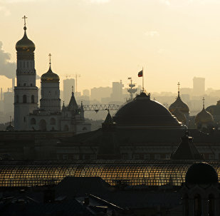 Left to right: Bell tower of Ivan the Great, building of Senate in Moscow's Kremlin