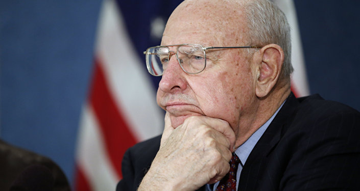 Former ambassador Thomas R. Pickering, listens during a news conference