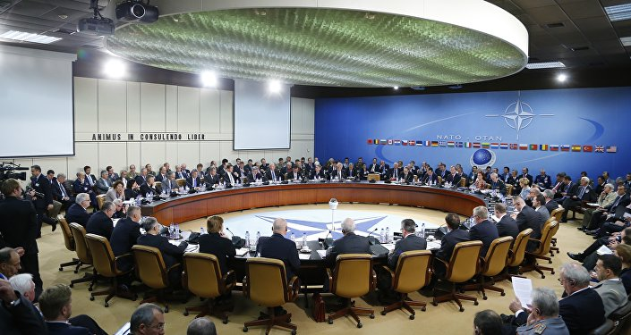 A general view of the table for a meeting of the NATO-Russia Council at the level of defense ministers at NATO headquarters in Brussels on Wednesday, Oct. 23, 2013