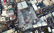 A site where buildings collapsed is seen in this aerial picture taken after a powerful earthquake hit Tainan, southern Taiwan, February 6, 2016
