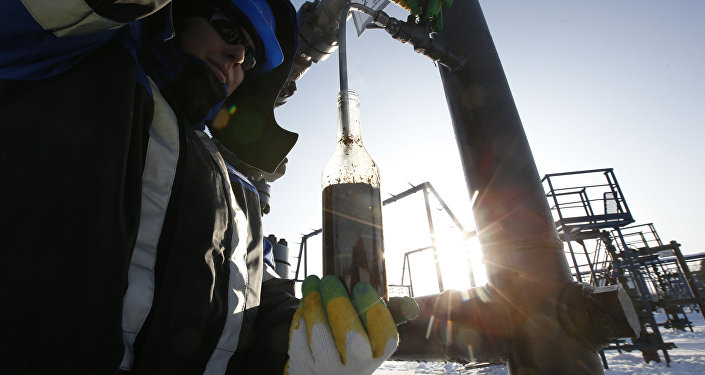 A worker takes oil samples from a well at the Gazpromneft company owned Yuzhno-Priobskoye oil field outside the West Siberian city of Khanty-Mansiysk, Russia, January 28, 2016