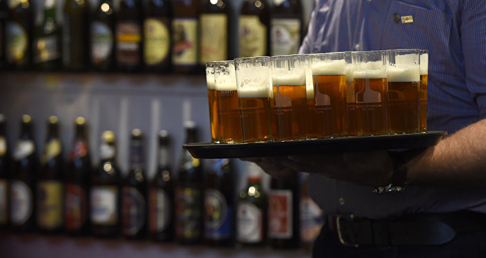 Beer is presented at the opening day of the Gruene Woche (Green Week) agricultural fair in Berlin on January 15, 2016