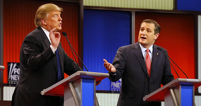 Republican presidential candidates, businessman Donald Trump and Republican presidential candidate, Sen. Ted Cruz, R-Texas, argue a point during a Republican presidential primary debate at Fox Theatre, Thursday, March 3, 2016, in Detroit