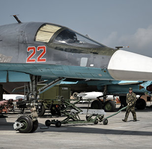Su-34 multifunctional strike bomber at the Hmeymim airbase in the Latakia Governorate of Syria