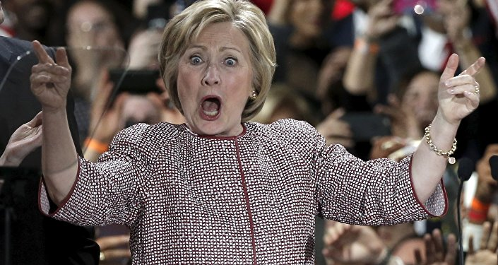 US Democratic presidential candidate Hillary Clinton reacts to the cheers of the crowd at her New York presidential primary night rally in the Manhattan borough of New York City, US, April 19, 2016.