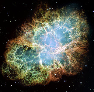 This is a mosaic image-- one of the largest ever taken by NASA's Hubble Space Telescope -- of the Crab Nebula, a six-light-year-wide expanding remnant of a star's supernova explosion.