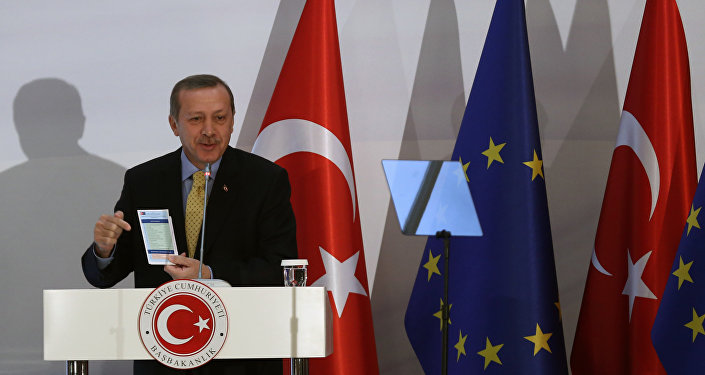 Turkish Prime Minister Recep Tayyip Erdogan speaks after the EU and Turkey signed agreements in Ankara, Turkey (File)