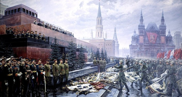 Socialist realist painting of the ceremony throwing Nazi German banners before the Soviet leadership on Red Square.