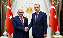 Turkish President Tayyip Erdogan (R) meets with incoming Prime Minister Binali Yildirim at the Presidential Palace in Ankara, Turkey, May 22, 2016.