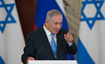 Israeli Prime Minister Benjamin Netanyahu during a joint news conference with Russian President Vladimir Putin in the Kremlin