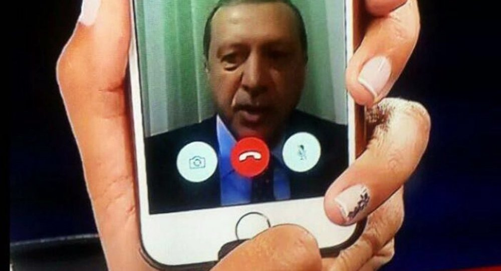 Telephone statement by Turkish President Recep Tayyip Erdogan, shown on the news on TV at an Istanbul home.