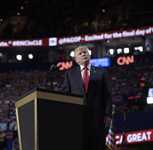 Republican presidential candidate Donald Trump looks on during the Republican National Convention on July 21, 2016, in Cleveland, Ohio