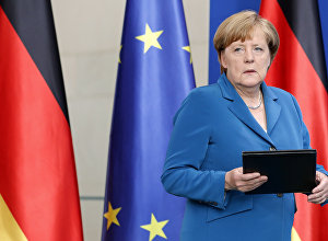 German Chancellor Angela Merkel arrives for a statement in Berlin, Germany, Saturday, July 23, 2016 on the Munich attack.