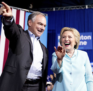 Hillary Clinton and Tim Kaine at VP Announcement Event in Miami, Florida