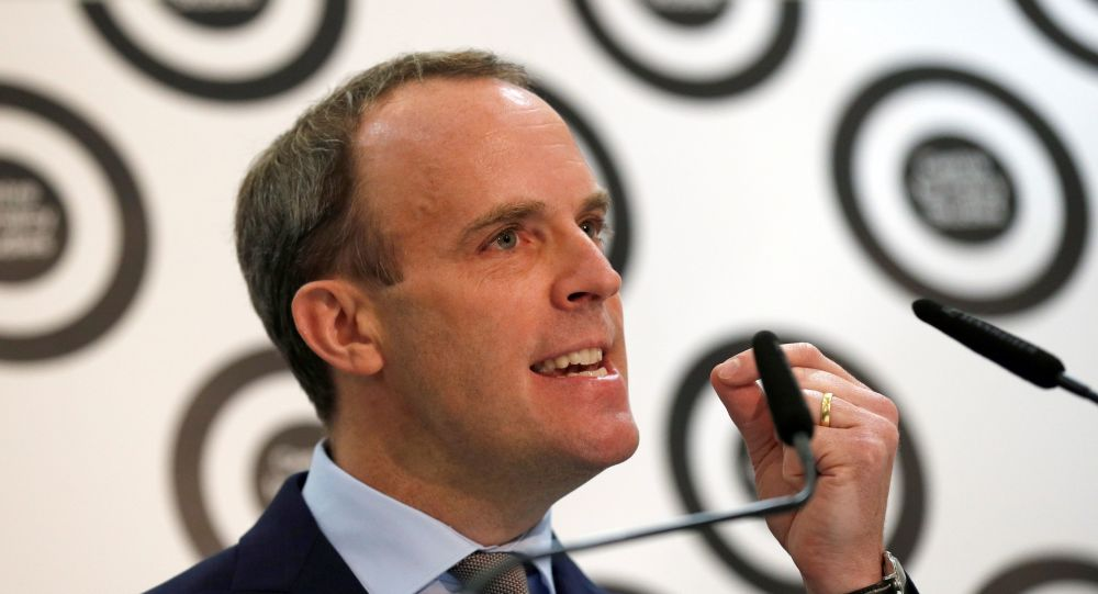 Britain's former Brexit secretary Dominic Raab gives a speech at the Centre for Policy Studies in central London on January 14, 2019. - EU leaders wrote to Theresa May on Monday with clarifications on the Brexit deal as the British prime minister seeks to win over sceptical MPs on the eve of a momentous vote on the text. (Photo by ADRIAN DENNIS / AFP)