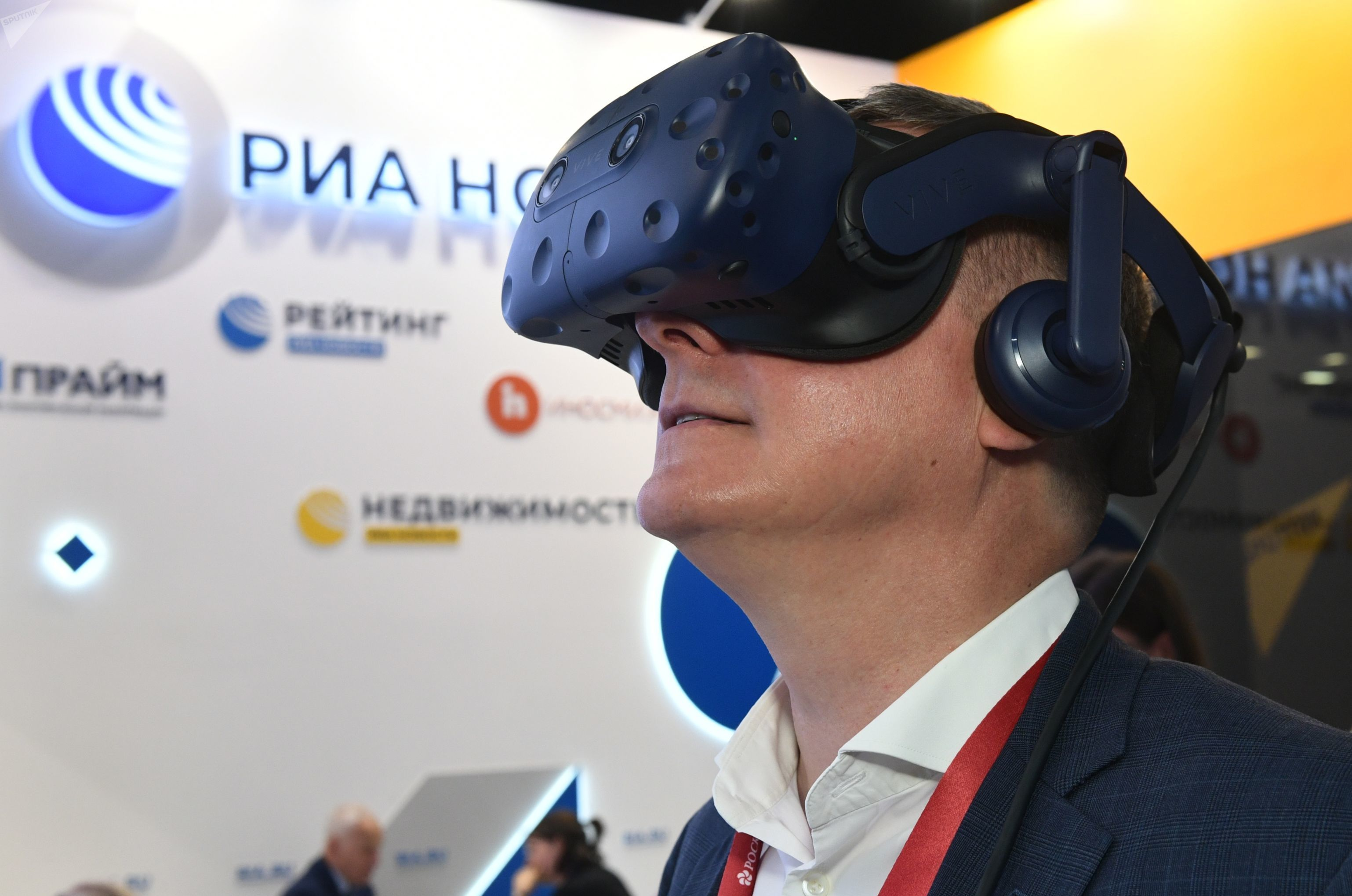 SPIEF 2019 visitor in the VR headset