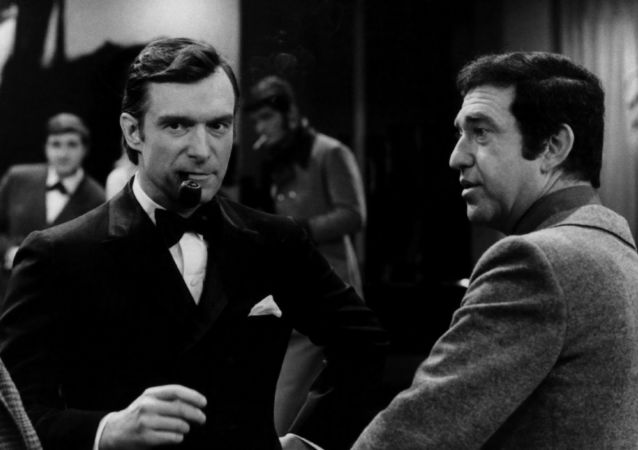 Photo of Hugh Hefner and Soupy Sales from the television program Playboy After Dark.