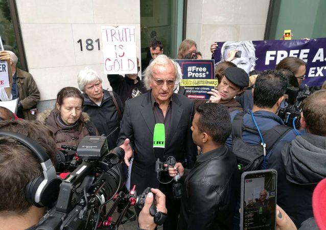 BAFTA award-winning documentary filmmaker John Pilger at protests in London against WikiLeaks' founder's Julian Assange's extradition
