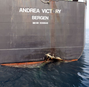 The damaged Andrea Victory is seen off the Port of Fujairah, United Arab Emirates, May 13, 2019.