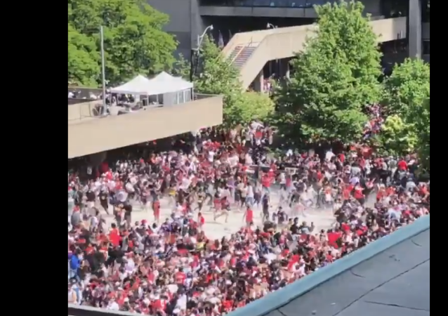 Stampede near Toronto Raptors' parade Nathan Phillips Square in Toronto, Canada, on June 17, 2019. The parade was meant to celebrate the Toronto Raptor's 2019 NBA Championship win.