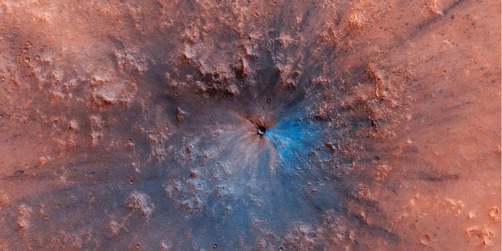 Crater which recently appeared on the surface of Mars