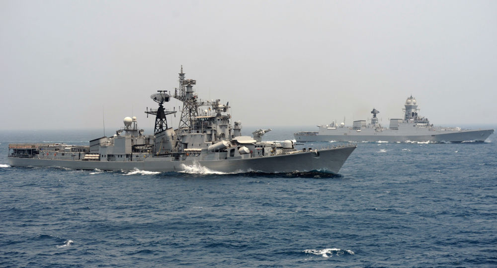 India's naval ship INS Ranvir (L) along with the INS Chennai (File)