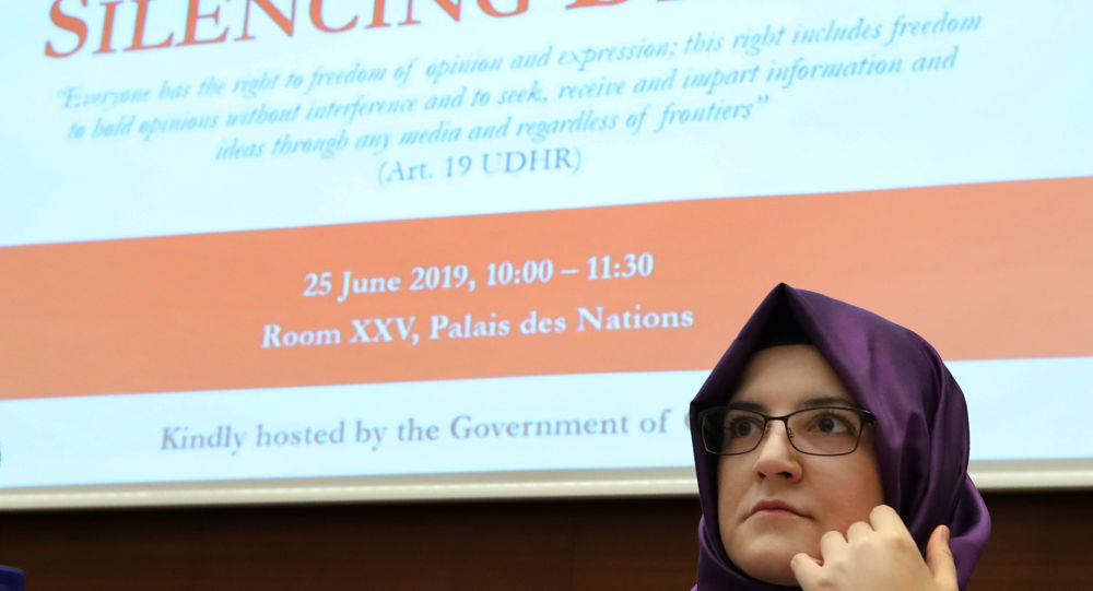 Hatice Cengiz, fiancee of the murdered Saudi journalist Khashoggi takes part in a UN side event in Geneva