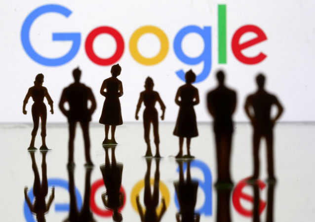 Small toy figures are seen in front of Google logo in this illustration picture, April 8, 2019