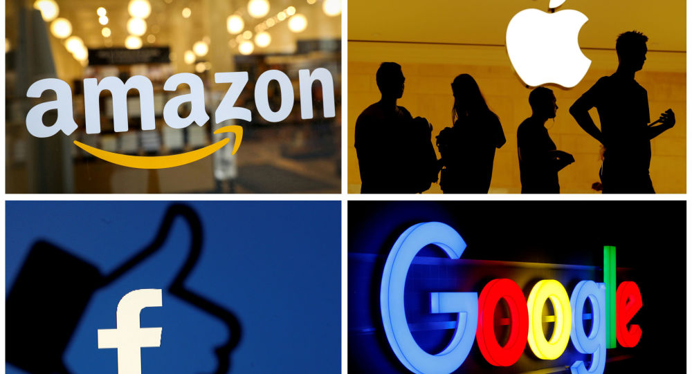 FILE PHOTO: The logos of Amazon, Apple, Facebook and Google in a combination photo from Reuters files