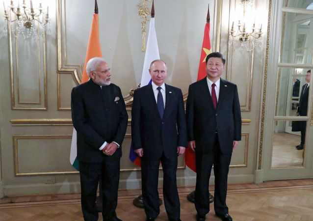 November 30, 2018. President Vladimir Putin, Prime Minister of India Narendra Modi, left, and President of China Xi Jinping, right, during a meeting on the sidelines of the G20 summit in Buenos Aires