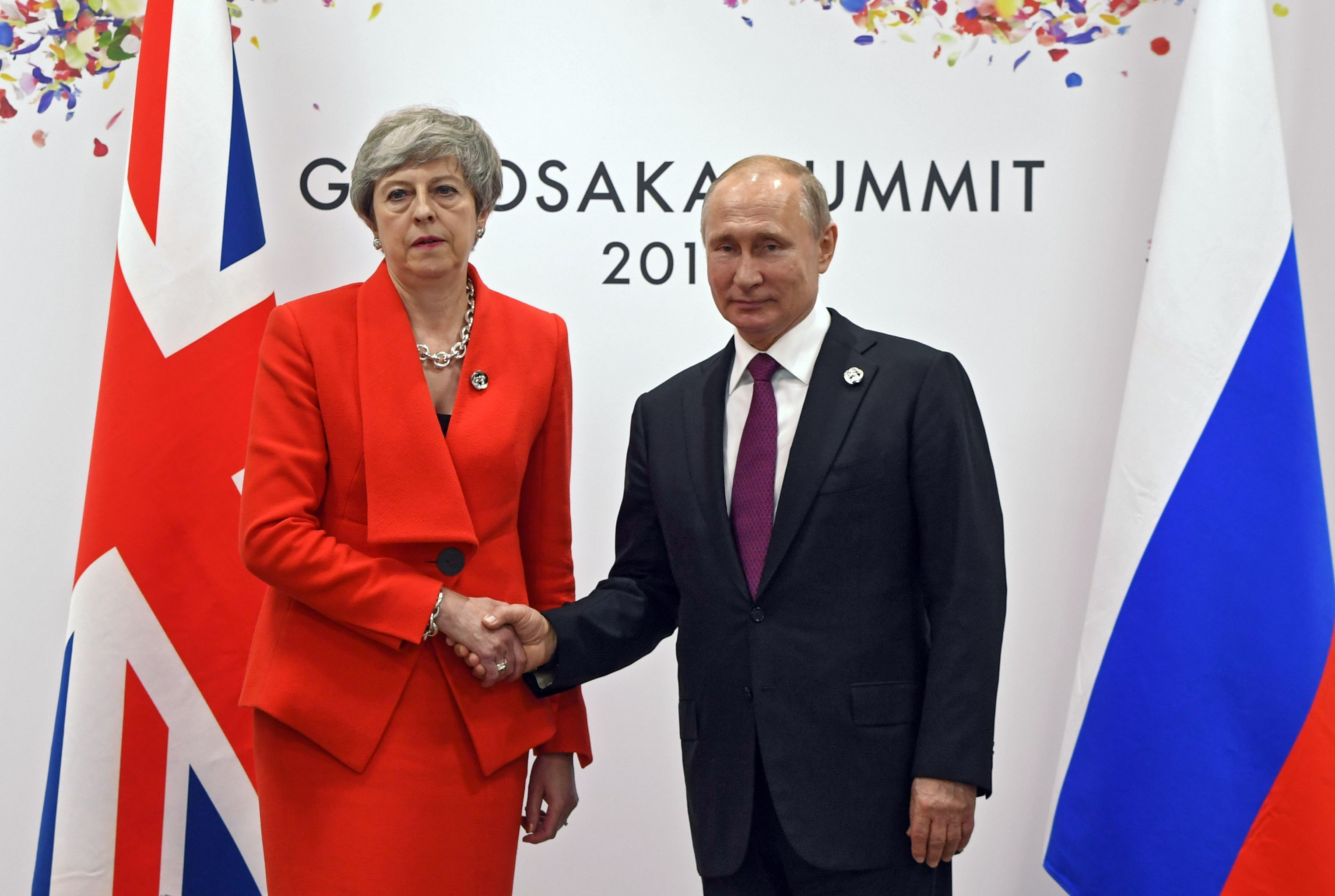 June 28, 2019. The Russian President Vladimir Putin and the prime minister of Great Britain Theresa May during the meeting on the sidelines of the summit in Osaka