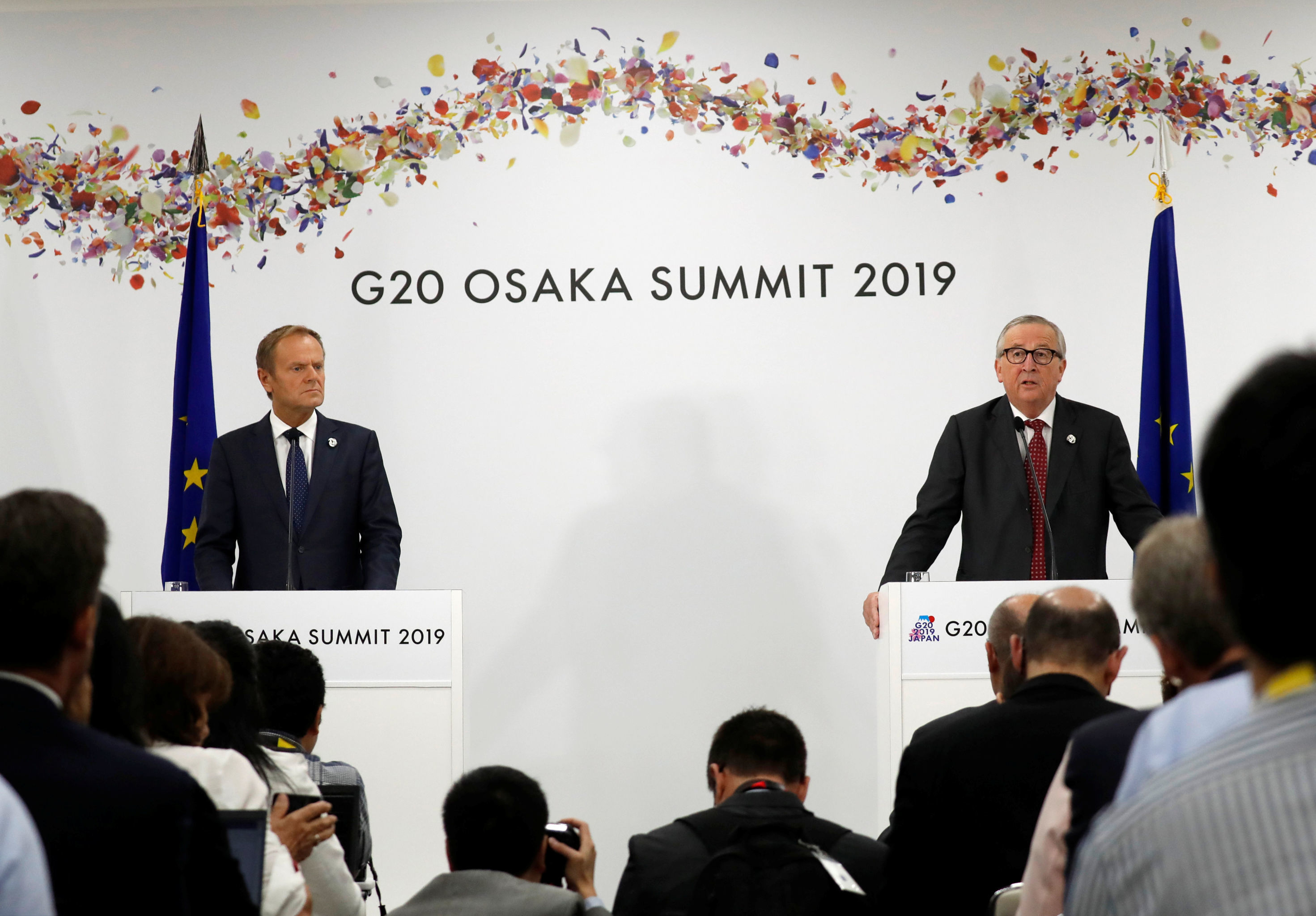 European Commission President Jean-Claude Juncker and European Council President Donald Tusk attend a news conference at the G20 leaders summit in Osaka, Japan, June 28, 2019