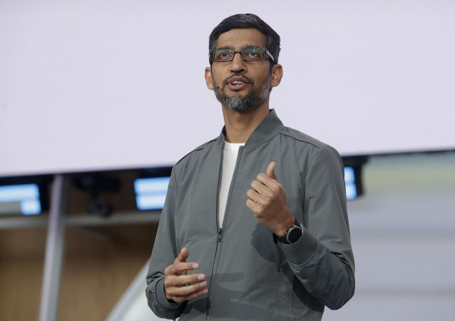 FILE - In this Tuesday, May 7, 2019 file photo, Google CEO Sundar Pichai speaks during the keynote address of the Google I/O conference in Mountain View, Calif.