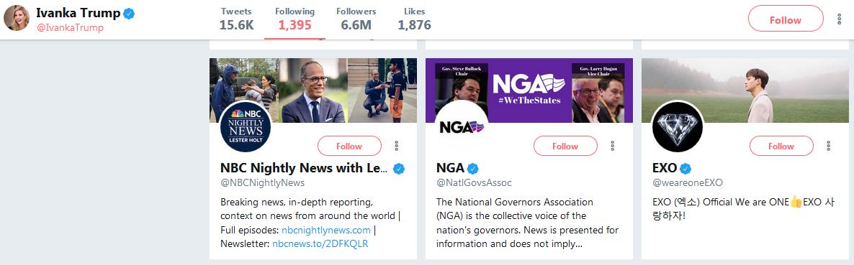 Ivanka Trump following EXO on Twitter