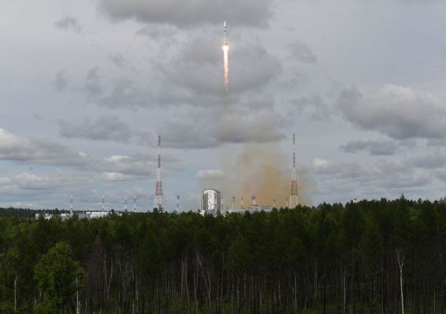 Russia's Soyuz-2.1b booster rocket carrying Russia's Meteor-M 2.2 meteorological satellite and 32 small satellite blasts off from the launchpad at Vostochny Cosmodrome, Russia