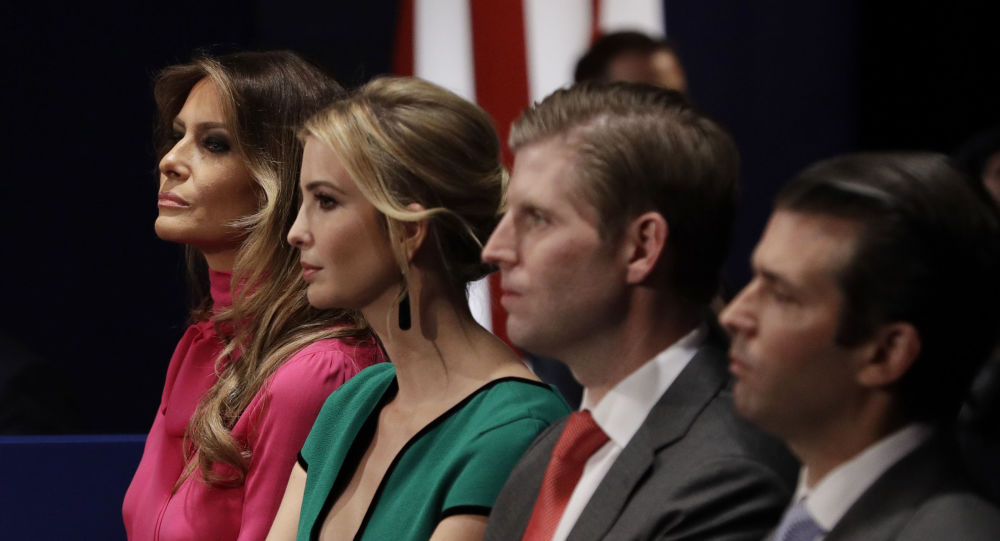 FILE - In this Sunday, Oct. 9, 2016 file photo, from left, Melania Trump, Ivanka Trump, Eric Trump and Donald Trump, Jr. wait for the second presidential debate between Republican presidential nominee Donald Trump and Democratic presidential nominee Hillary Clinton at Washington University in St. Louis