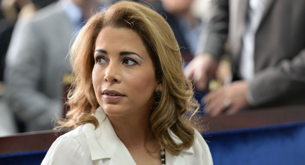 Princess Haya bint al-Hussein, the wife of the Prime Minister of the UAE and Ruler of Dubai, waits for United Nations Secretary-General Ban Ki-moon to arrive for a press conference ahead of the launch of the UN's report on humanitarian financing in Dubai, United Arab Emirates, Sunday, Jan 17, 2016