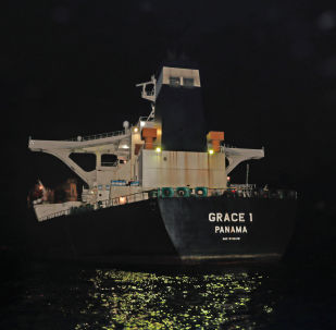 Oil supertanker Grace 1, that's on suspicion of carrying Iranian crude oil to Syria, is seen in waters of the British overseas territory of Gibraltar, historically claimed by Spain, July 4, 2019