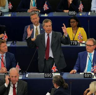 Brexit Party leader Nigel Farage speaks during a debate on the election of designated European Commission President Ursula von der Leyen at the European Parliament in Strasbourg, France, July 16, 2019