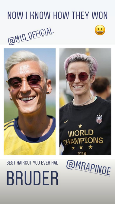 Mesut Ozil and Megan Rapinoe