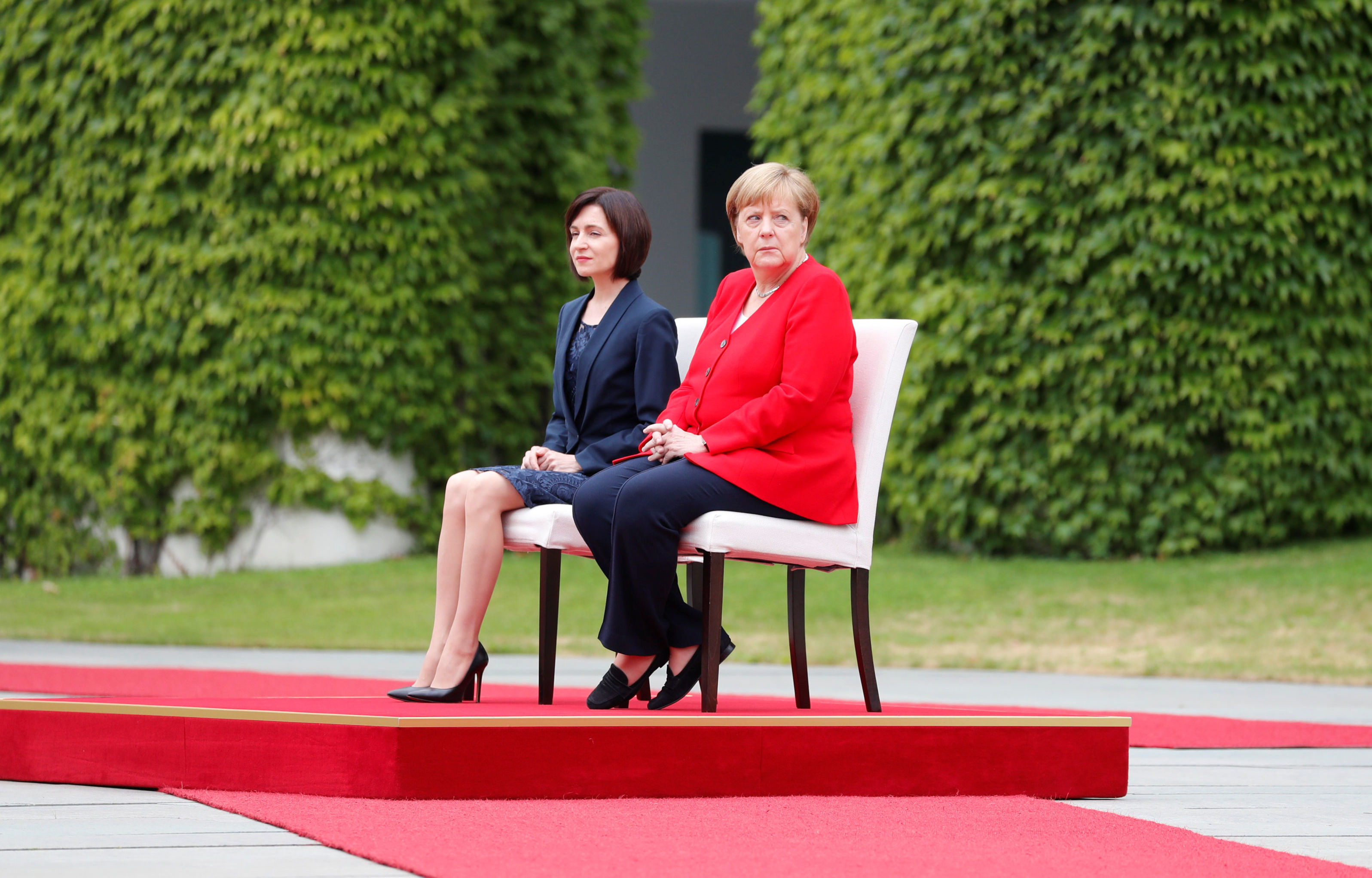 German Chancellor Angela Merkel and Moldova's Prime Minister Maia Sandu sit during a welcoming ceremony at the Chancellery in Berlin, Germany July 16, 2019