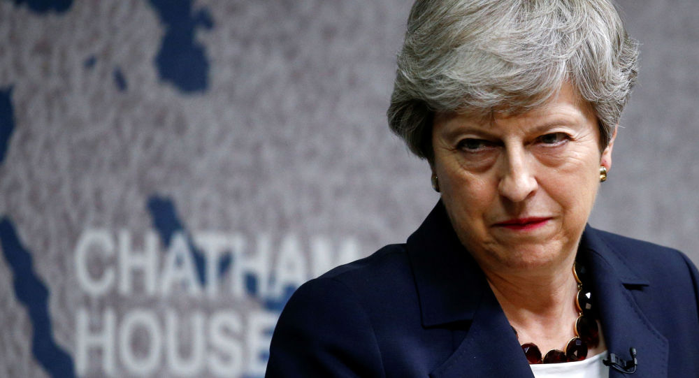 Britain's Prime Minister Theresa May speaks at Chatham House in London on July 17, 2019