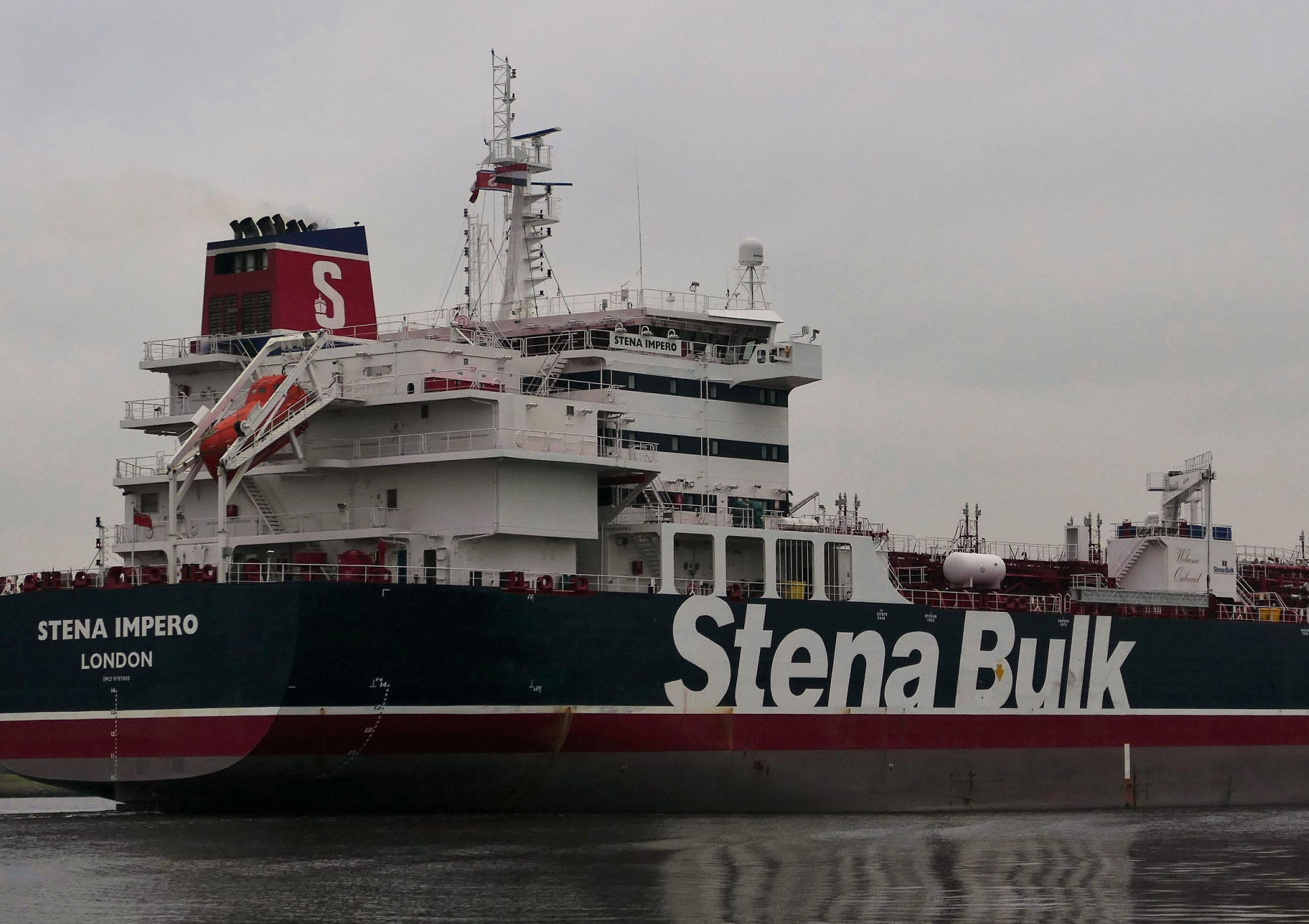 This handout photo received on July 19, 2019 courtesy of Nico Kemps shows the Stena Impero, a British-flagged tanker, off the coast of Amsterdam on December 26, 2018.