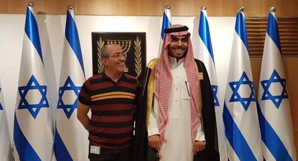Mohammed Saud, right, during his visit to Israel