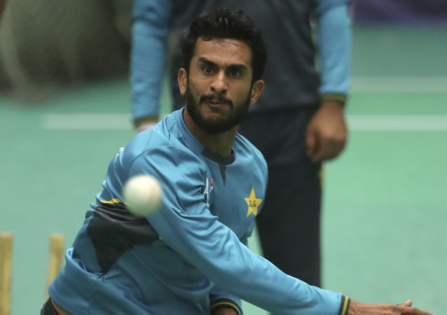 Pakistan's Hasan Ali attends an indoor training session ahead of their Cricket World Cup match against India at Old Trafford in Manchester, England, Saturday, June 15, 2019. (AP Photo/Aijaz Rahi)
