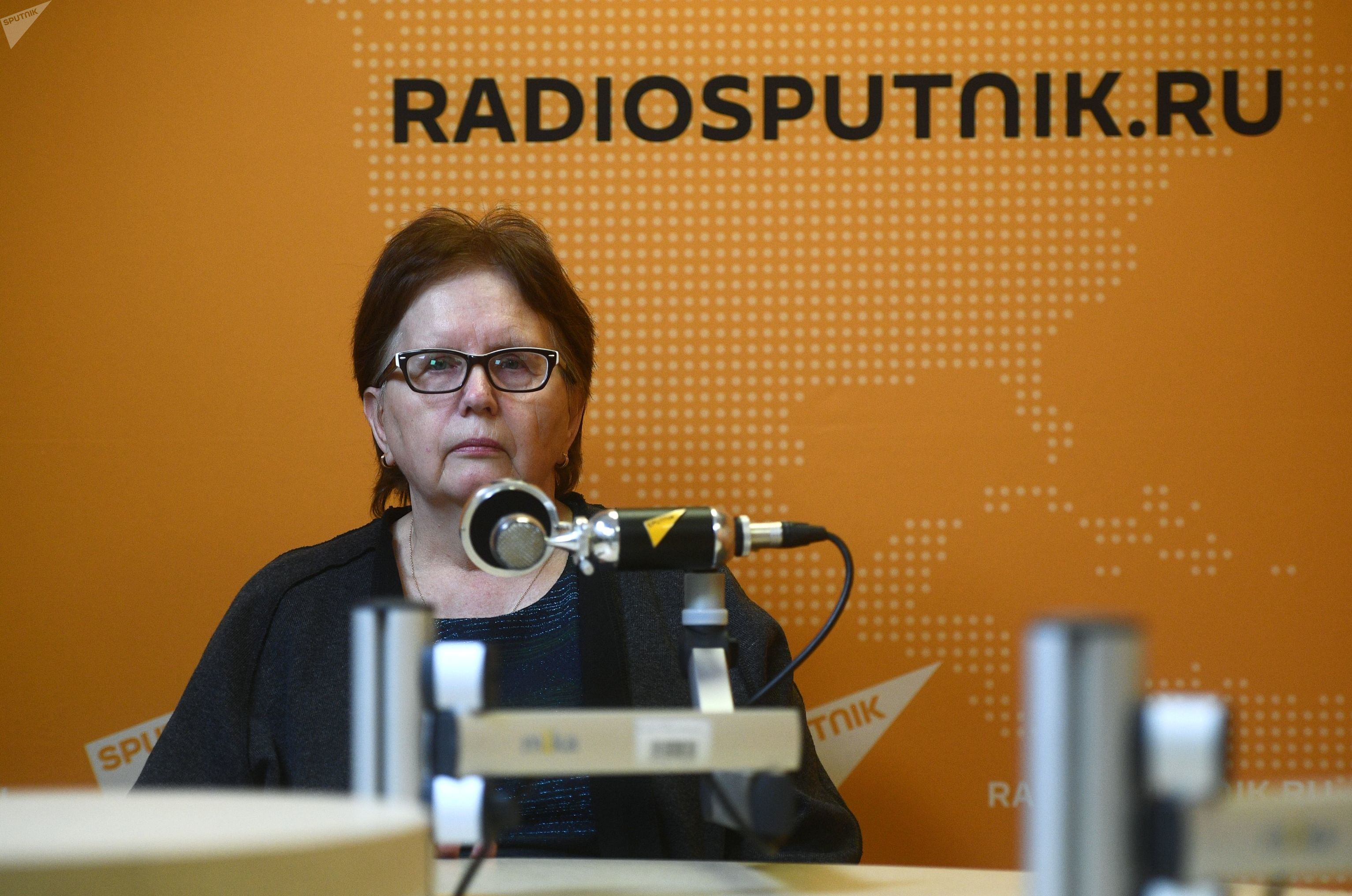 Vera Nikolaevna Stenina the mother of the press photographer of Russia Today Andrey Stenin during the interview in studio of radio Sputnik in Moscow