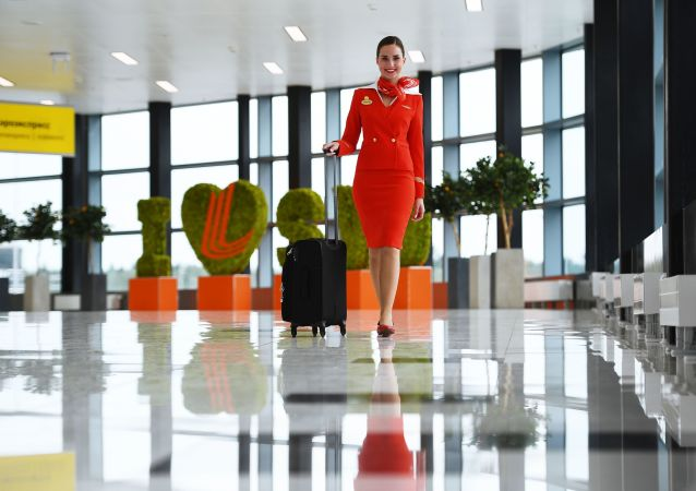 Aeroflot's flight attendant Anastasia Belousova at Sheremetyevo Airport