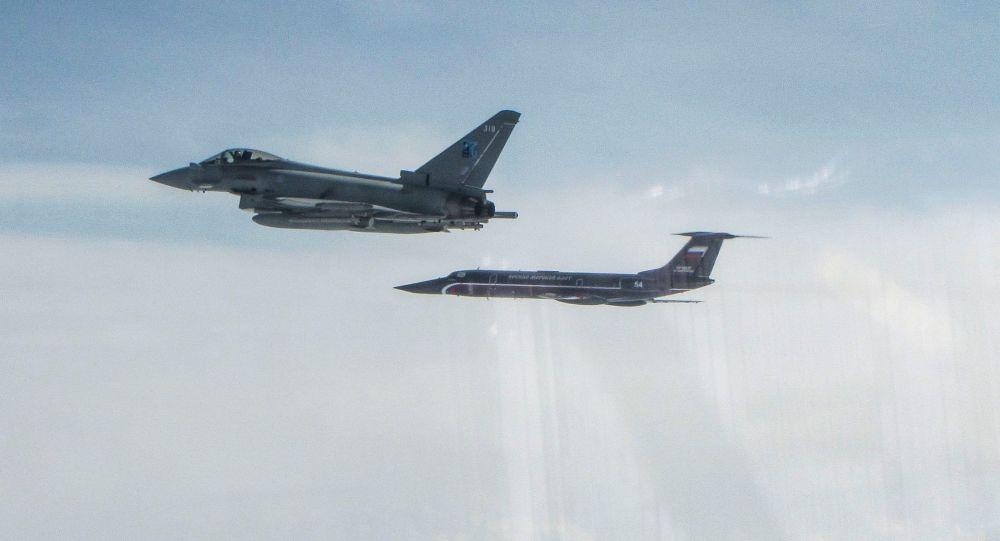 "RAF Typhoon and Russian Tupolev TU-134 ""Crusty"""