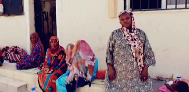 Women with children from Sudan waiting in Ganfouda detention centre in Benghazi to know if they will be able to stay in Libya or if they will be forced to return to their country of origin
