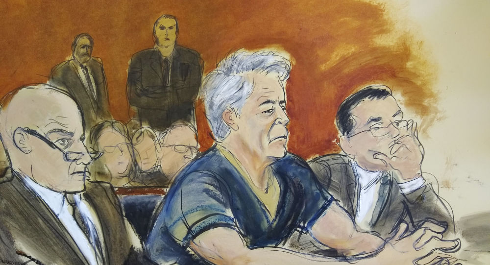In this courtroom artist's sketch, defendant Jeffrey Epstein, centre, sits with attorneys Martin Weinberg, left, and Marc Fernich during his arraignment in New York federal court, Monday, 8 July 2019. Epstein pleaded not guilty to federal sex trafficking charges. The 66-year-old is accused of creating and maintaining a network that allowed him to sexually exploit and abuse dozens of underage girls from 2002 to 2005.